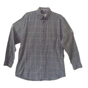 Armani Gray Window Pane Button Down Shirt
